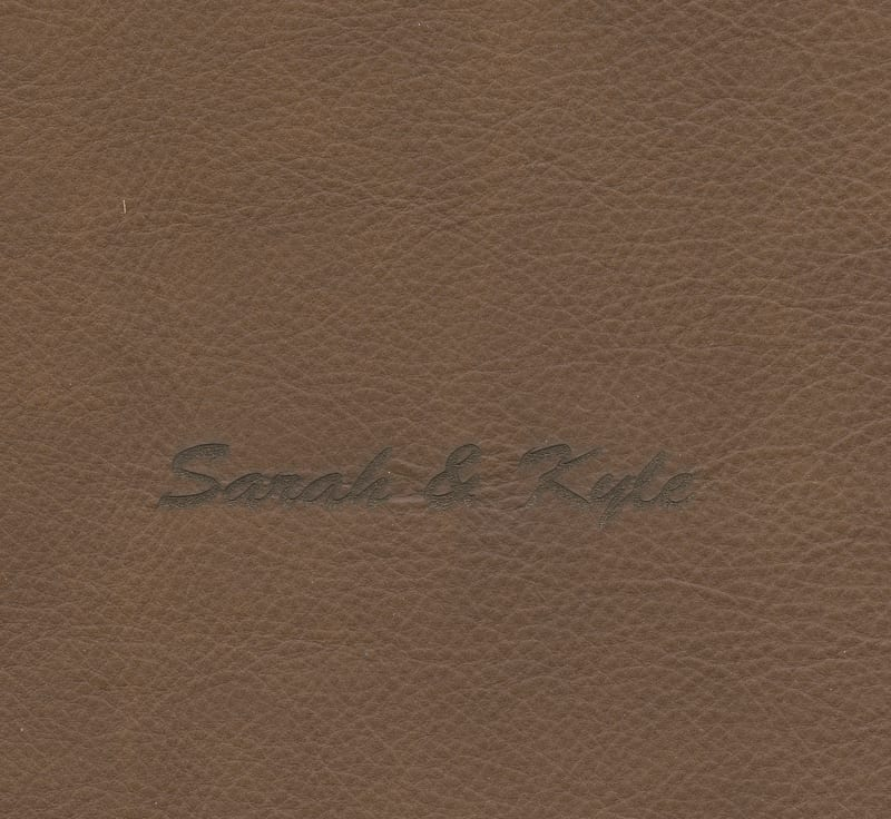 full grain leather - chocolate engraved