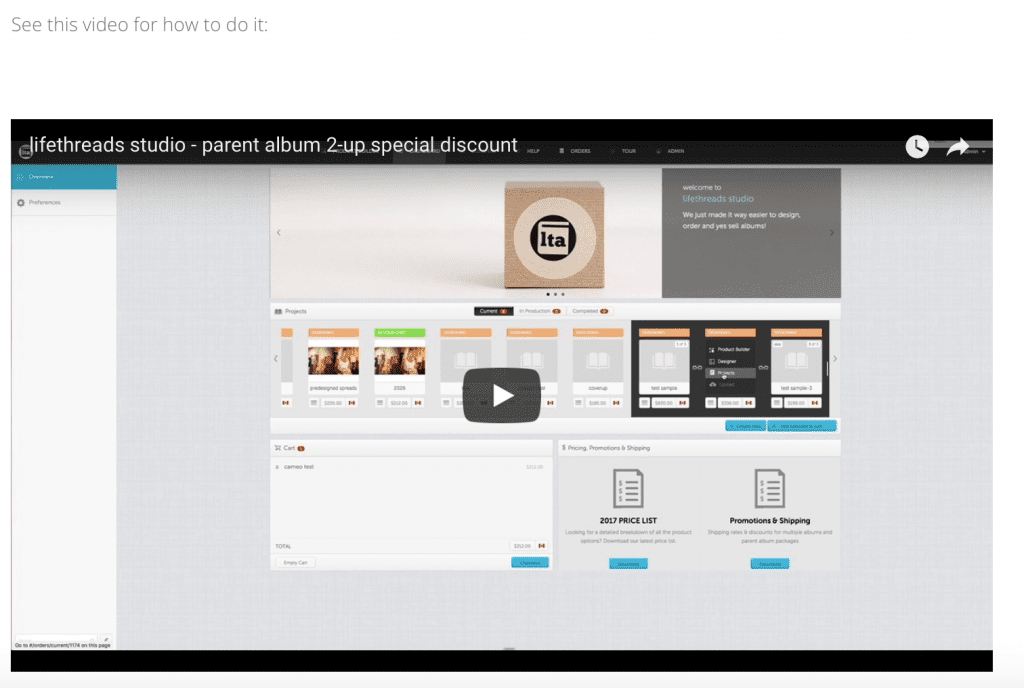 video - how to add parent albums